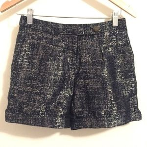 Anthropologie Coquille Metallic Navy Gold Shorts 0